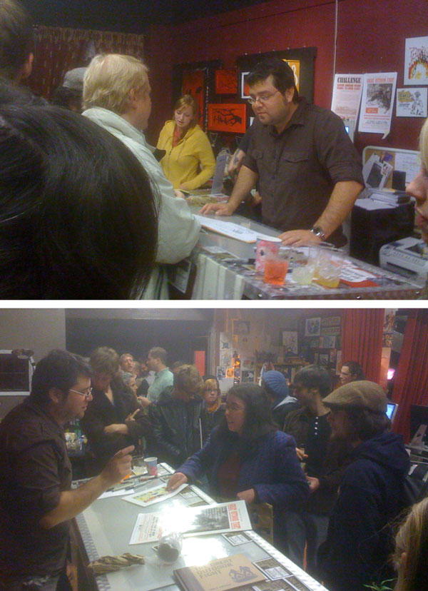 At right: images from the Friday-night Chris Onstad signing at Skeleton Key