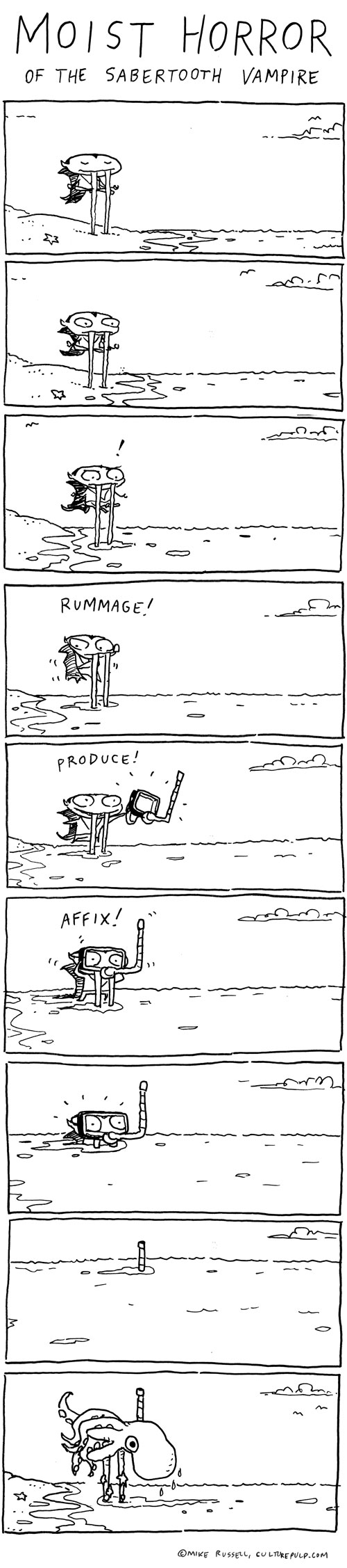 """Alternate titles I almost used for this strip: """"Dark Tide of the Sabertooth Vampire""""; """"Watery Tomb of the Sabertooth Vampire""""; """"Dread Fathoms of the Sabertooth Vampire""""; and """"Ebb and Flow of the Sabertooth Vampire."""" All these titles enjoy the distinct advantage of not containing the word """"moist"""""""